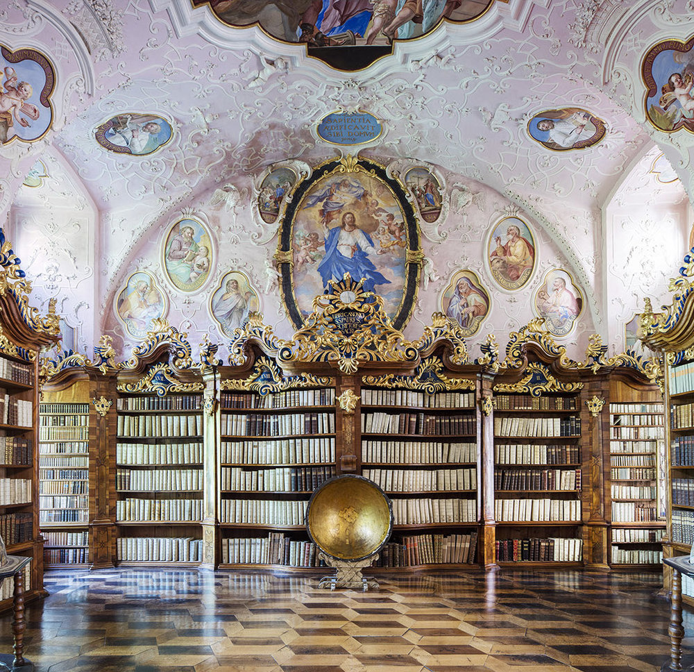 Vorau Abbey Library, Austria  Another High Baroque masterpiece, this Austrian library belongs to the Vorau Augustinian Monastery at Vorau, an hour's drive south of Vienna. Bursting with History, the building dates back to 1721, and holds more than 11,000 books - its oldest more than 800 years old. The globe seen above was crafted by Italian cartographer Vncenzo Coronelli in 1688. Remarkably, all this survived Russian bombings during WW2 which devastated much of the surroundings.