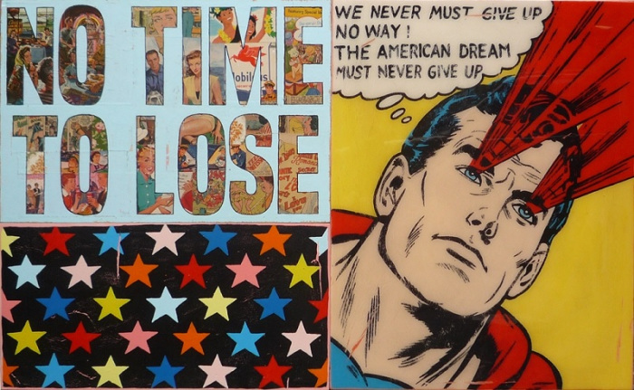 """Joseph, """"No time to lose (Superman),"""" 2018. Acrylic, collage, and resin on wood. 110 x 70 cm."""