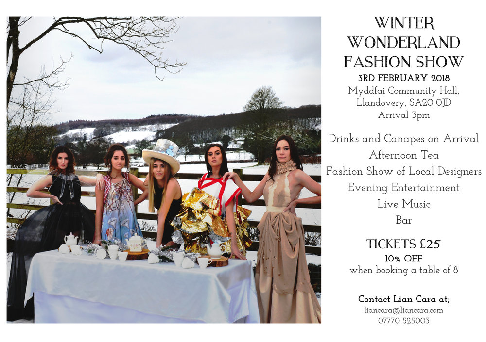 Fashion Show - I will be hosting a fashion show on 3rd February showcasing a number of designers from South Wales. Book your tickets now by contacting me at liancara@liancara.com