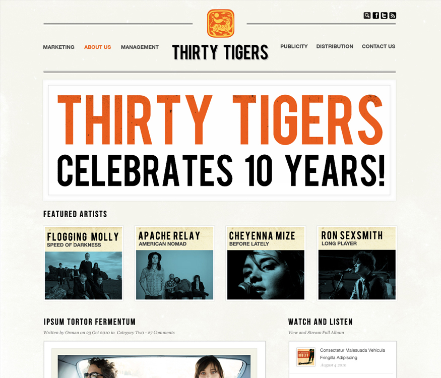 Thirty Tigers Homepage Concept