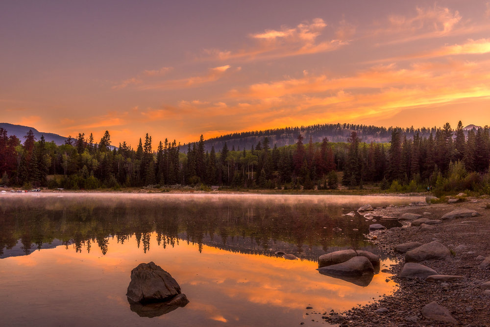 Sunrise at Patricia Lake in Jasper National Park