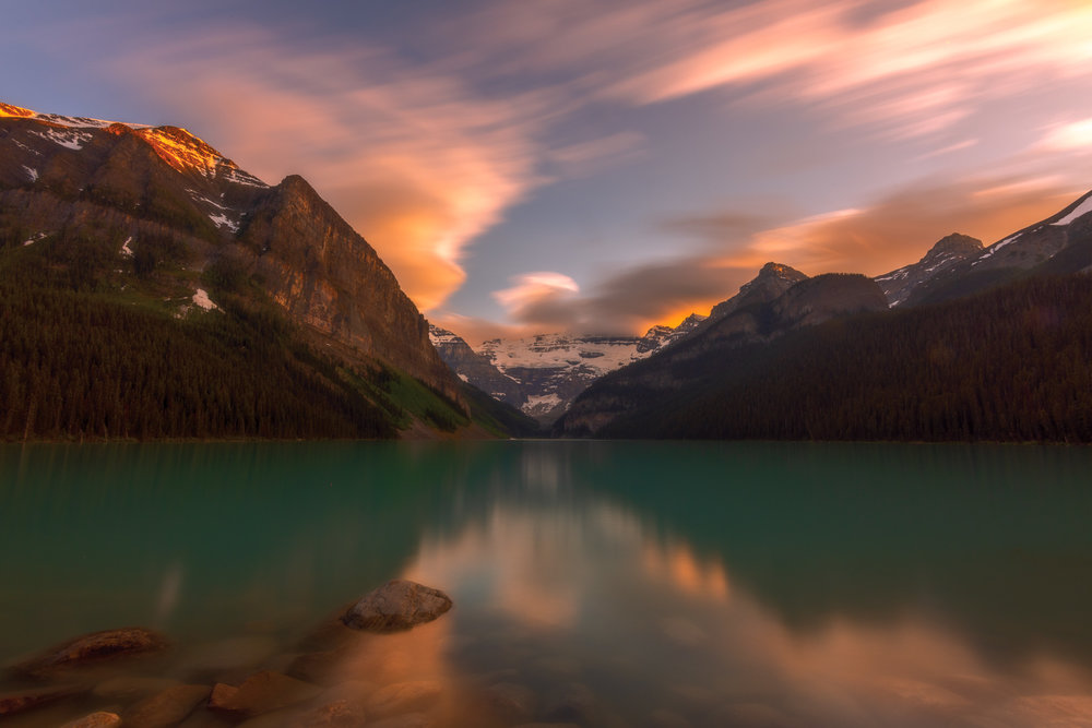 2 minutes with a 10 stop filter at Lake Louise in Alberta, Canada