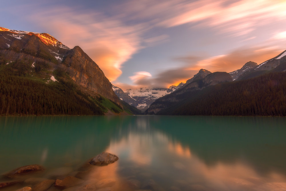 June's trip to the Rockies culminated in this stunning sunset at Lake Louise. I couldn't help but succumb to my long exposure addiction here!