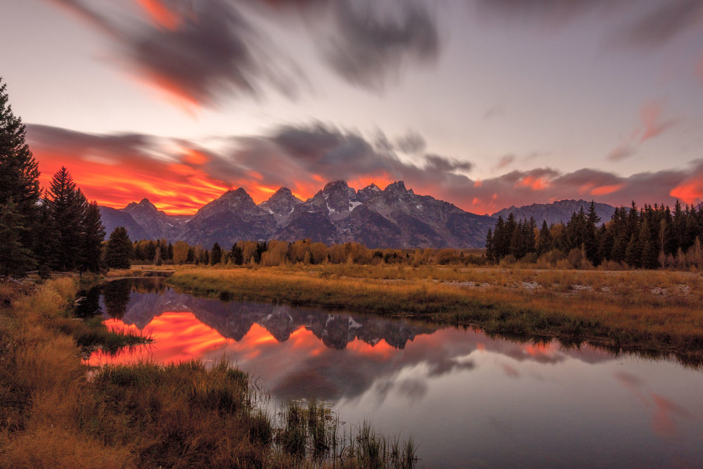 A stunning sunset welcomed me to the Tetons in September! Again, my obsession with long exposures tugs at me when there are beautiful clouds.