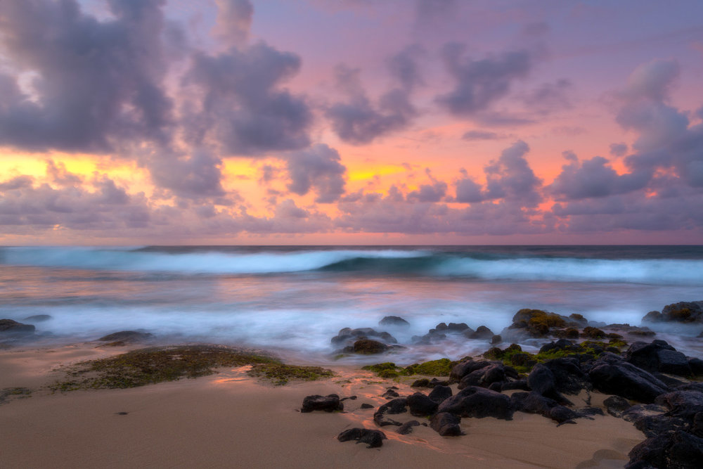 Such a stunning beach in Kauai lured me out of bed several mornings for sunrise. I love the softness of the long exposure but the way the waves still have shape.