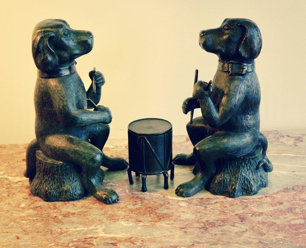 Pair of Labrador Drummers in Bronze