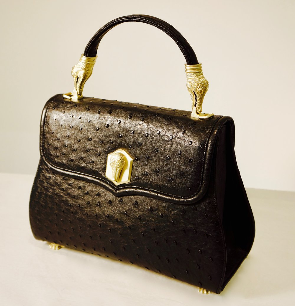 Alligator Trophy Bag with French Tanned Ostrich Skin