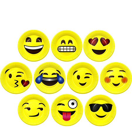 Emoji paper plates - Easy emoji pool party ideas for kids and adults