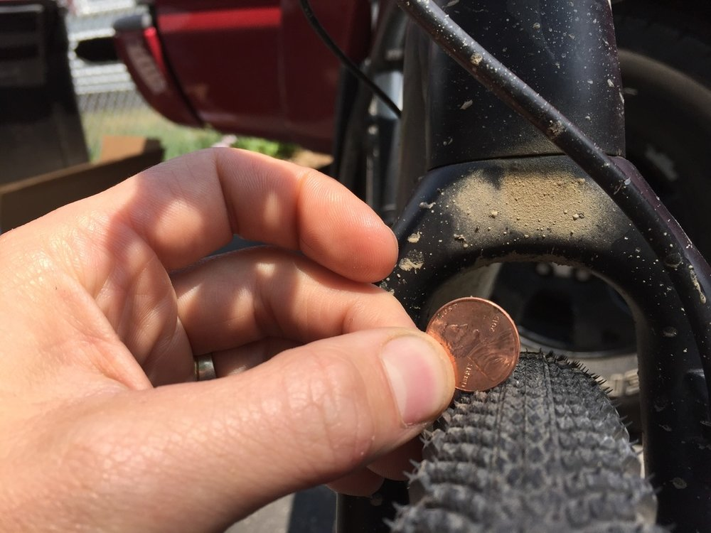 This penny is for scale, but it does show the mud clearance of the fork.