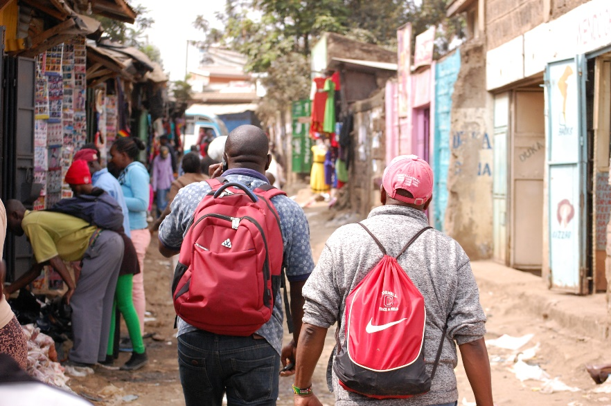 Walking through Kibera to the YMCA