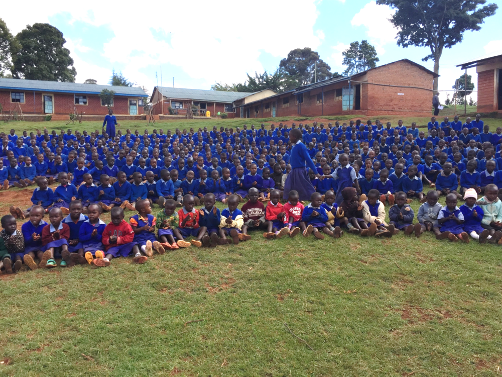 Gathering the students at Kamariny Primary School