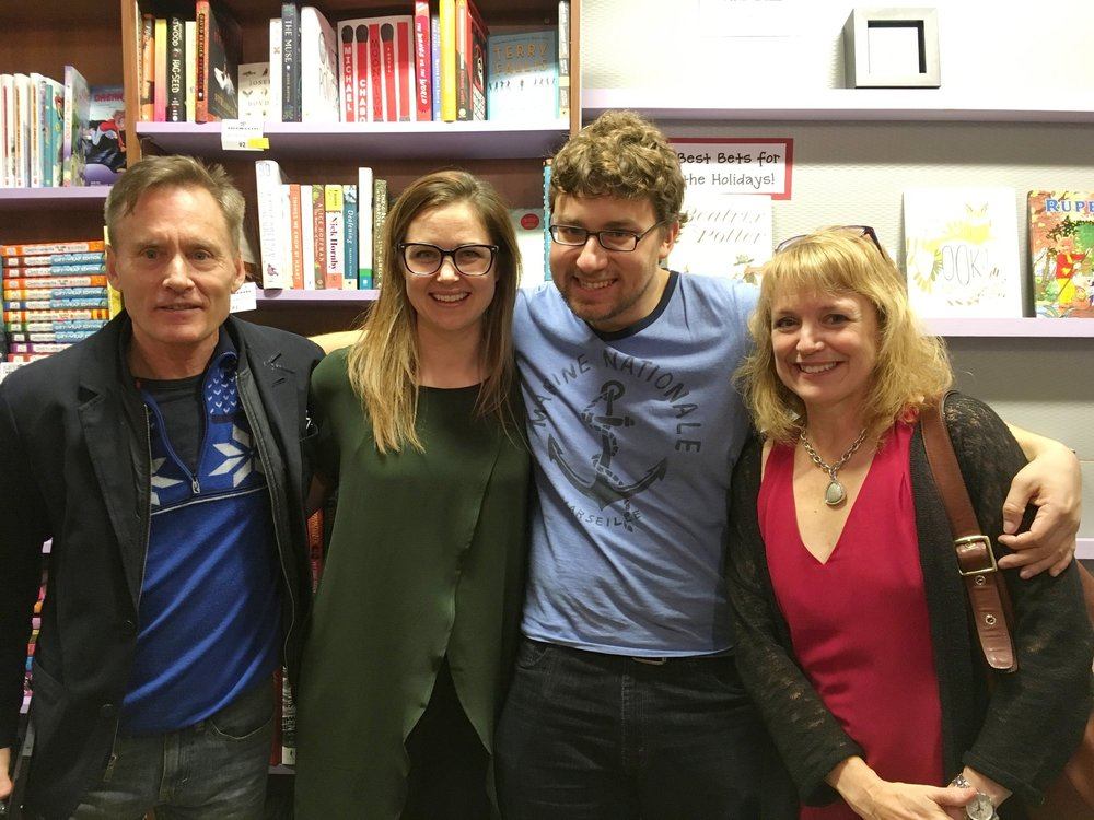 (Left to right) Dog-Eared Books founders: Larry McCloskey, Jocelyn van Wynsberghe, Max Szyc (Intern) and Tanis Browning-Shelp.