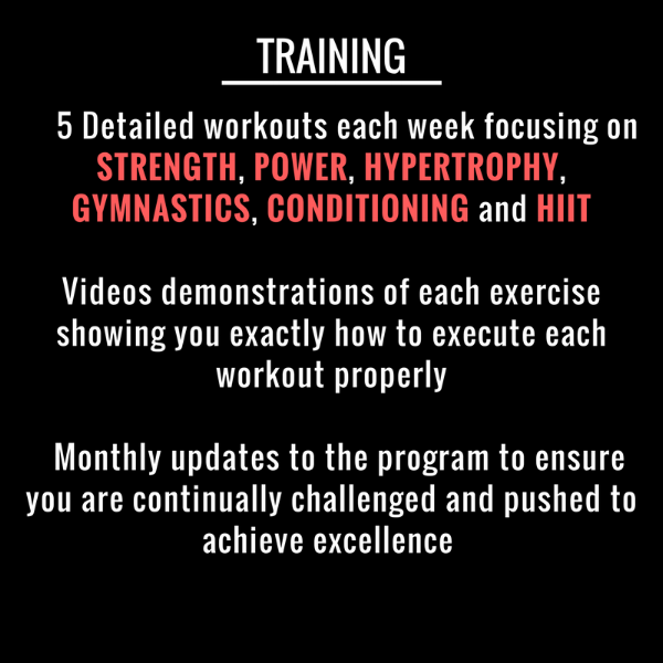 5 Detailed workouts each week focusing on STRENGTH, POWER, HYPERTROPHY, GYMNASTICS, CONDITIONING and HIITVideos demonstrations of each exercise showing you exactly how to execute each workout properly Monthly updates-7.png