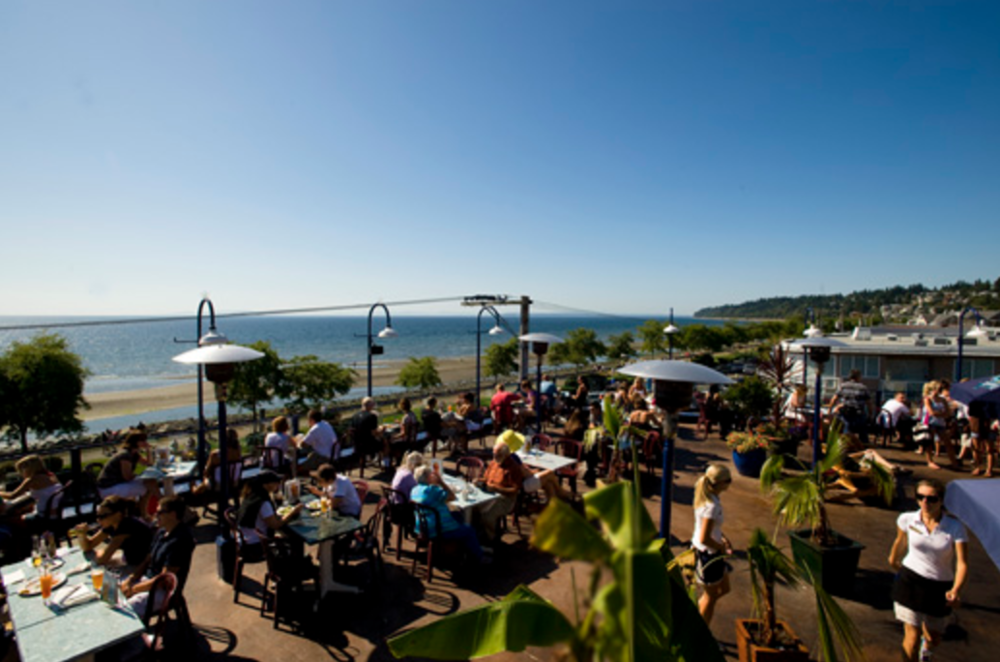 The Boathouse White Rock's roof top deck. A similar view can be had from within the restaurant's 2nd floor dining room, where Mother's Day brunch is held. Photo: The Boathouse Restaurants
