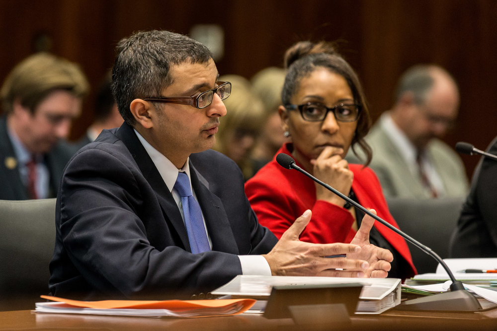 Director of the Illinois Department of Public Health Nirav Shah answers questions from the House and Senate's Committees on Veterans Affairs March 5, 2018 during a legislative hearing about Legionnaires' disease at Quincy Veterans Home. | Erin Brown/Sun-Times