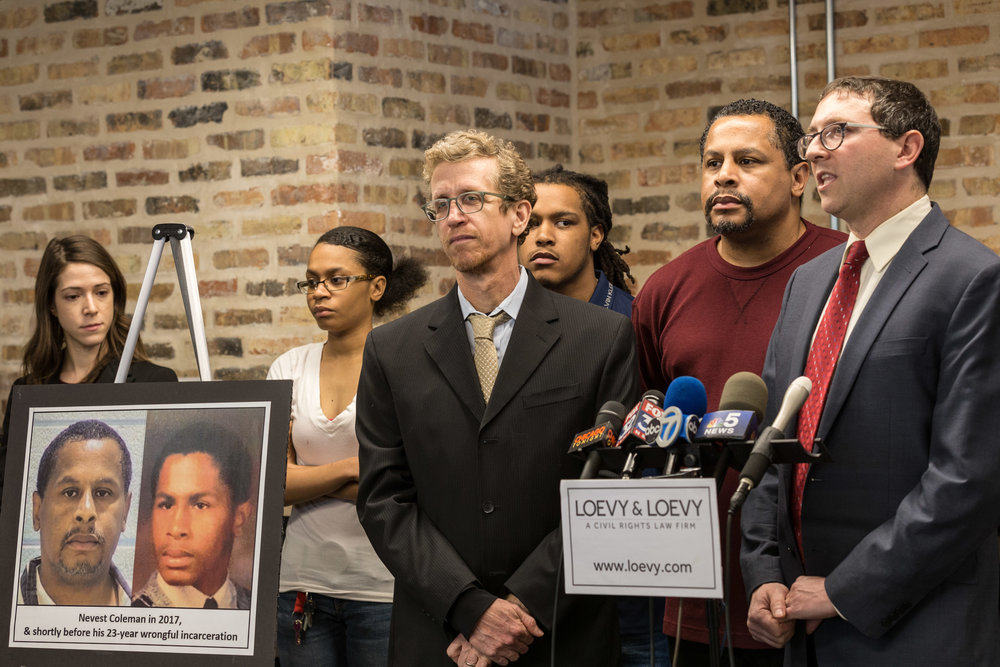 Nevest Coleman spent 23 years in prison for a crime he was coerced into confessing to by Chicago police officers. Today, Feb. 8, 2018, Coleman and his attorneys Russell Ainsworth and Jon Loevy held a press conference announcing a lawsuit against the City of Chicago, several officers, and Cook County State's Attorney officials for his wrongful imprisonment. | Erin Brown/Sun-Times