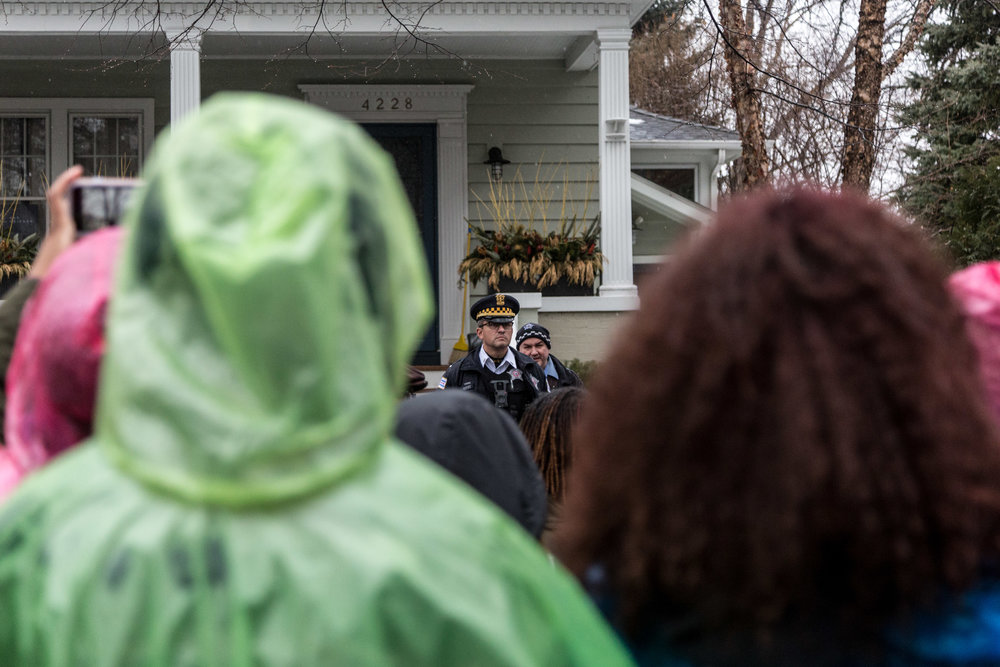 Multiple organizations protested Monday, Feb. 19, 2018 over the possible closing of several Chicago public schools. The march started at Lakeview High School and ended with a rally outside Mayor Emanuel's house. | Erin Brown/Sun-Times