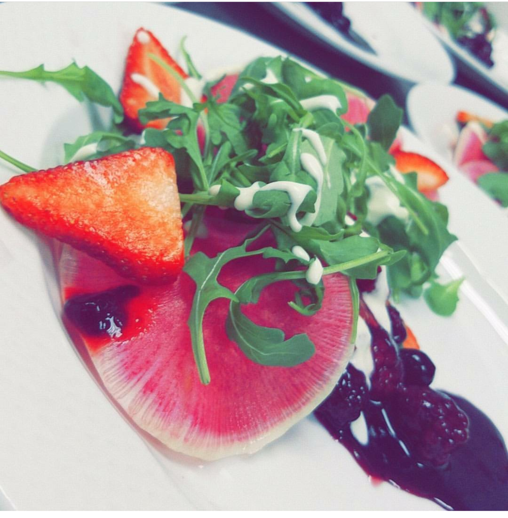 Watermelon radish, mixed berry Arugula salad