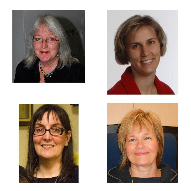 (Clockwise)  Dr. Leslie Tutty ,  Dr. Katreena Scott ,  Dr. Verona Singer  &  Dr. Diane Crocker