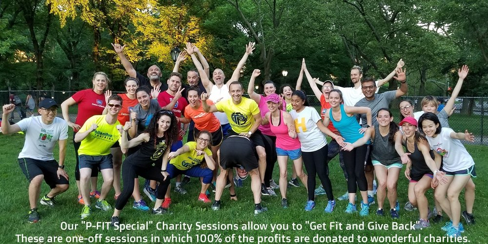 "Our ""P-FIT Special"" charity sessions put the ""Philanthro"" in PhilanthroFIT. These are one-off group training sessions in which  100%  of the profits are donated to our partner charities."