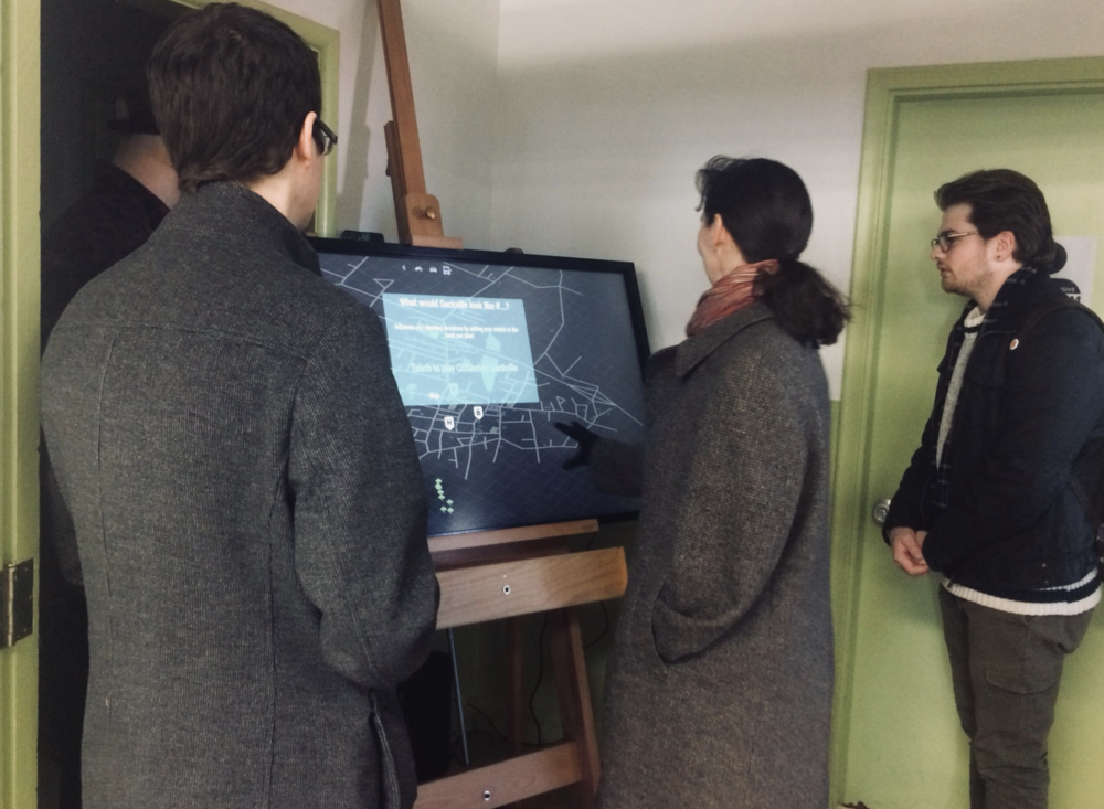 Observing how market-goers reacted to the images on screen and how they approached the kiosk gave us many clues to how to design the interaction to be approachable.