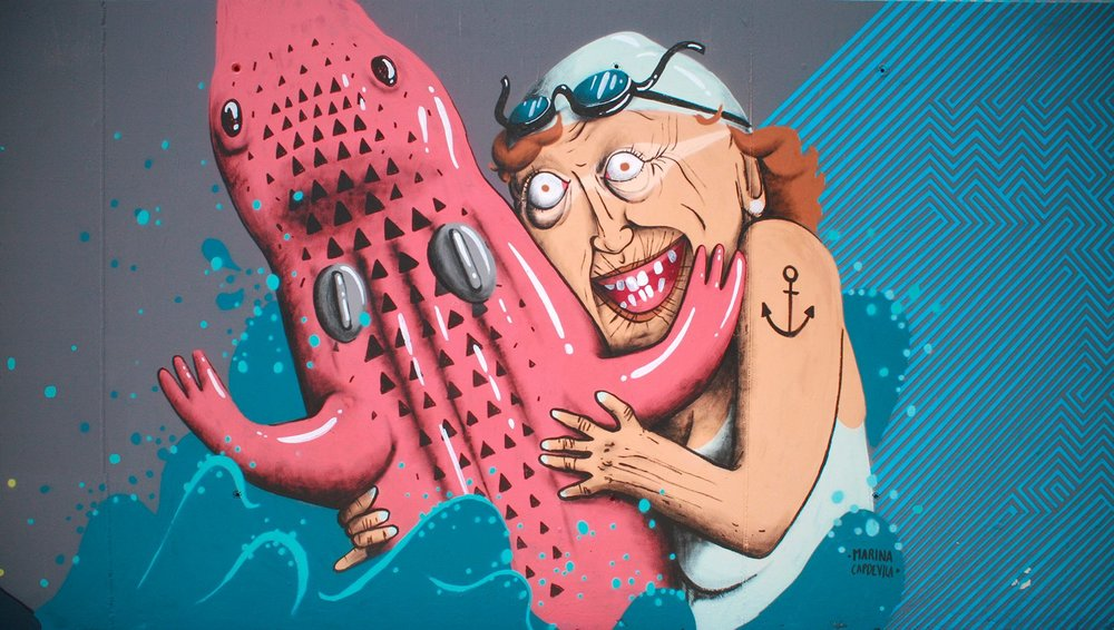 mural painted at Mis Latas Festival in Valencia, Spain, 2014.