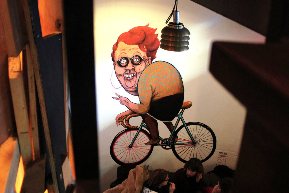 Mural painted at Basis Bar, Amsterdam, Netherlands 2014