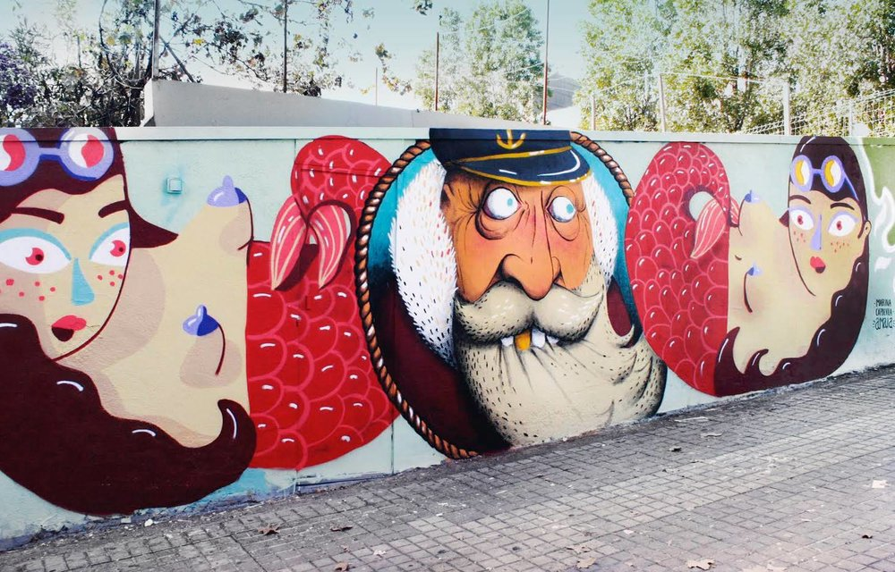 Murail painted with Amaia Arrazola in Barcelona, Spain, 2015.