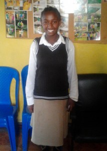 Rahel in new school uniform.
