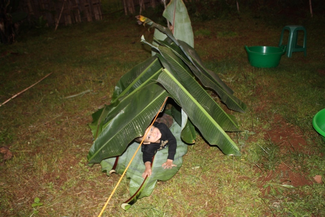 "All work and no play make Dawit a dull boy. Here's a little tent we made during some of our ""off"" time."