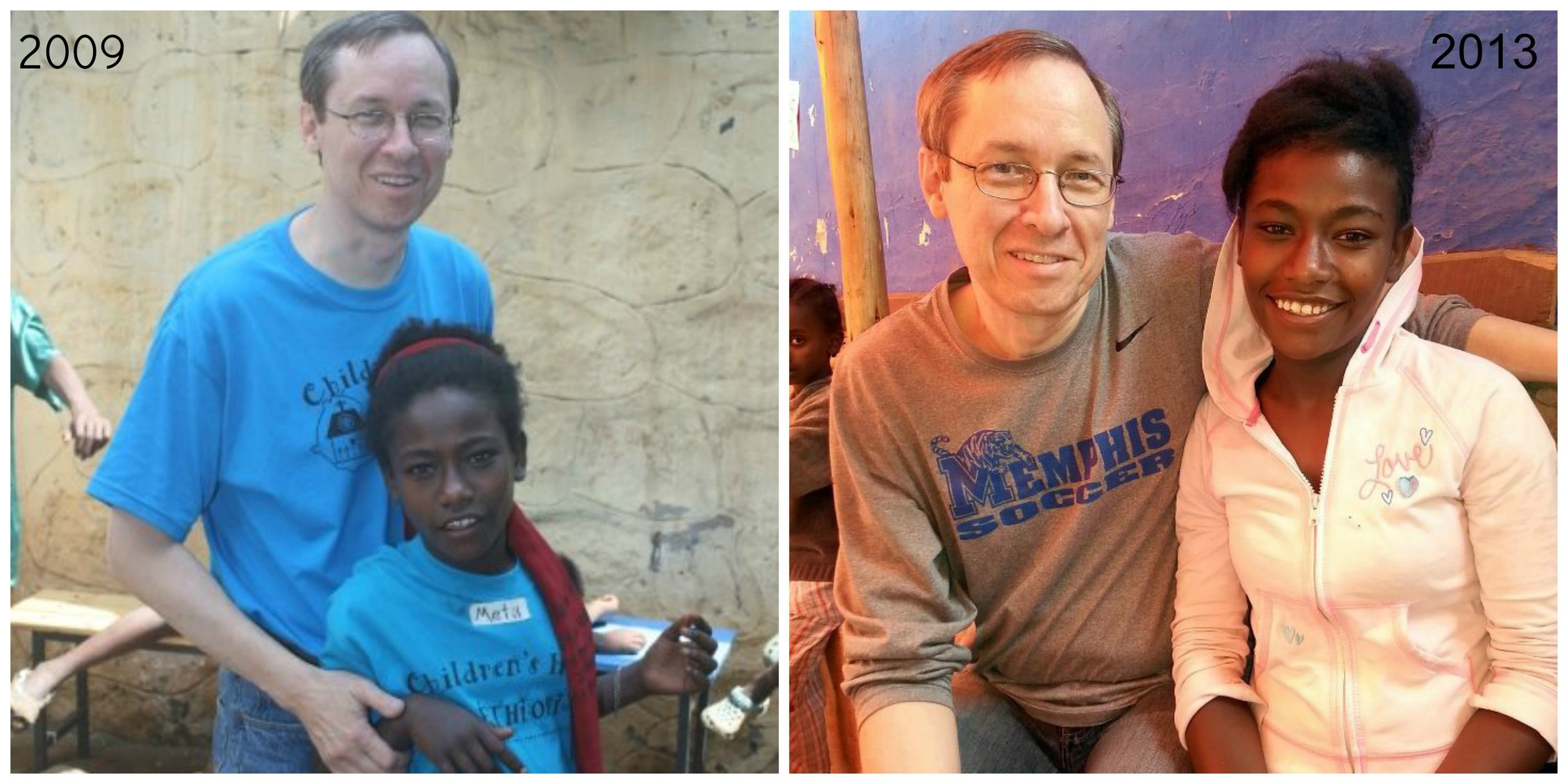 Here's Metu and me in 2009 and then again in March of this year.