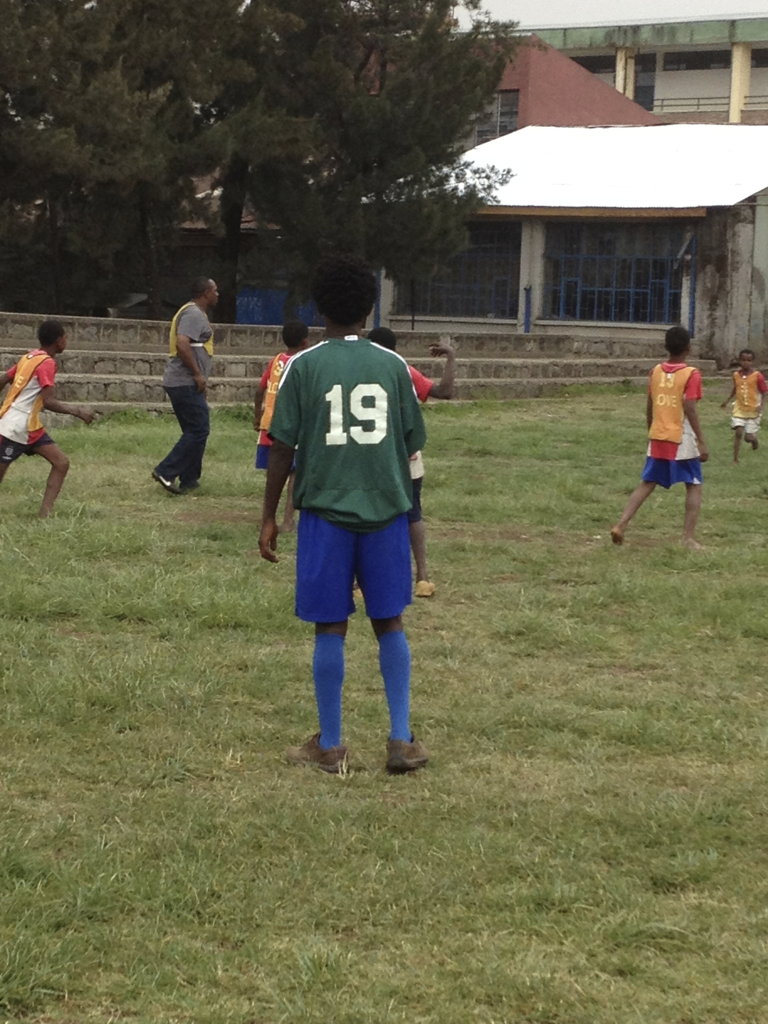 Nega playing soccer with boys during my visit to Ethiopia in June