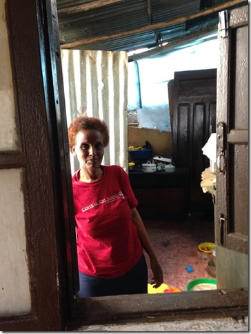 Here's Ababech in her office, the kitchen.