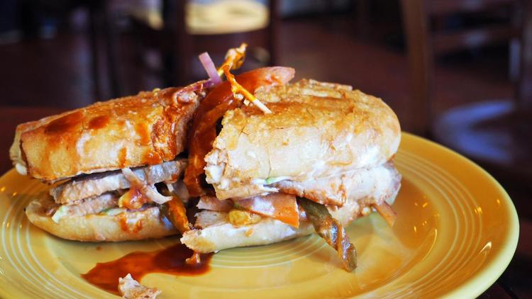 The pork loin lonche from Primera Taza. (Jenn Harris / Los Angeles Times)
