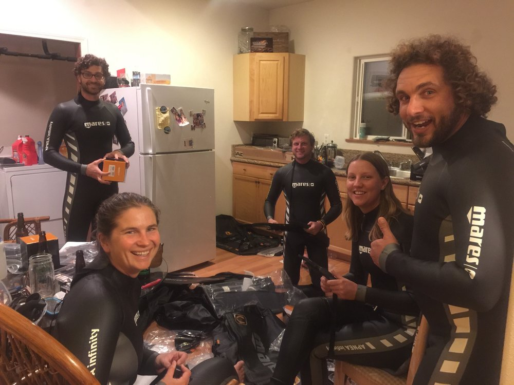 The team is stoked about the free diving gear contributed by Mares!  Thank you!!