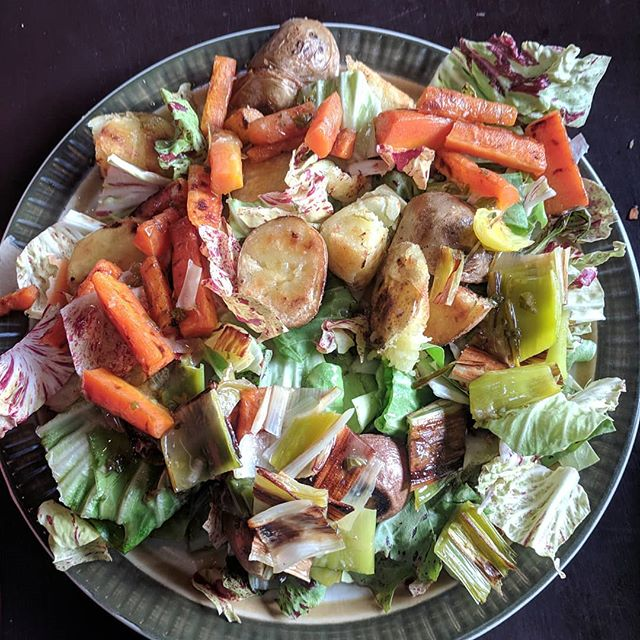 Winter farmer food:  boiled then fried smoked Basque infused potatoes, roasted carrots and leeks, on a bed of castelfranco. Lemon Thyme Maple dressing. Fuelling some major farm planning on this sunny day!  #bitterisbetter #winterfood #whatcomcounty #farmerfood #smallfarm