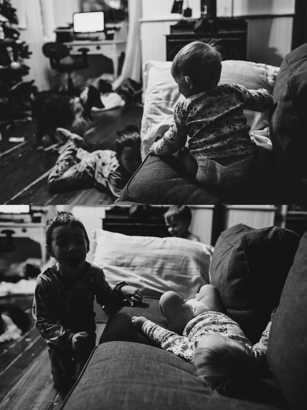 2. 365 - My littlest loves it when her big brother scares her. He sneaks around the couch, then pops up and screams his head off. She laughs hysterically. I felt this moment was best told with two photos.