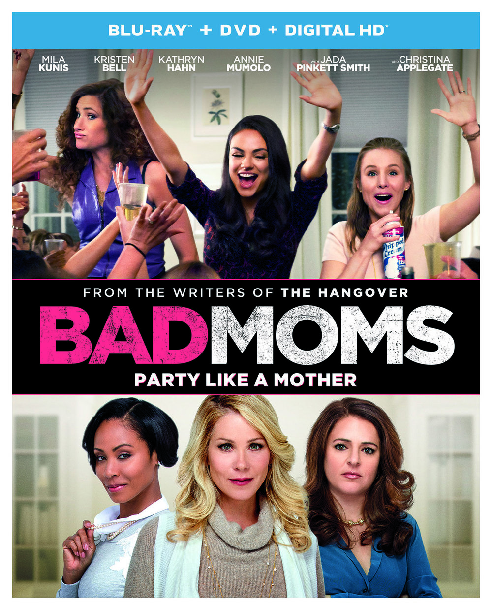 "In this outrageous comedy from the writers of  The Hangover , Amy (Mila Kunis) has a seemingly perfect life - a great marriage, over-achieving kids, beautiful home and a career. However she's over-worked, over-committed and exhausted to the point that she's about to snap. Fed up, she joins forces with two other over-stressed moms (Kristen Bell and Kathryn Hahn) on a quest to liberate themselves from conventional responsibilities – going on a wild, un-mom-like binge of long overdue freedom, fun and self-indulgence – putting them on a collision course with PTA Queen Bee Gwendolyn (Christina Applegate) and her clique of devoted perfect moms (Jada Pinkett Smith and Annie Mumolo). See the movie that critics are cheering as ""…a funny, giddy, sentimental laugh-in…"" - Manohla Dargis,  The New York Times ."