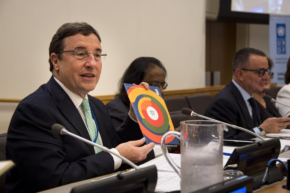 The UNDP Administrator, Achim Stiener, presenting the annual report at the Executive Board meeting to all UNDP member states.