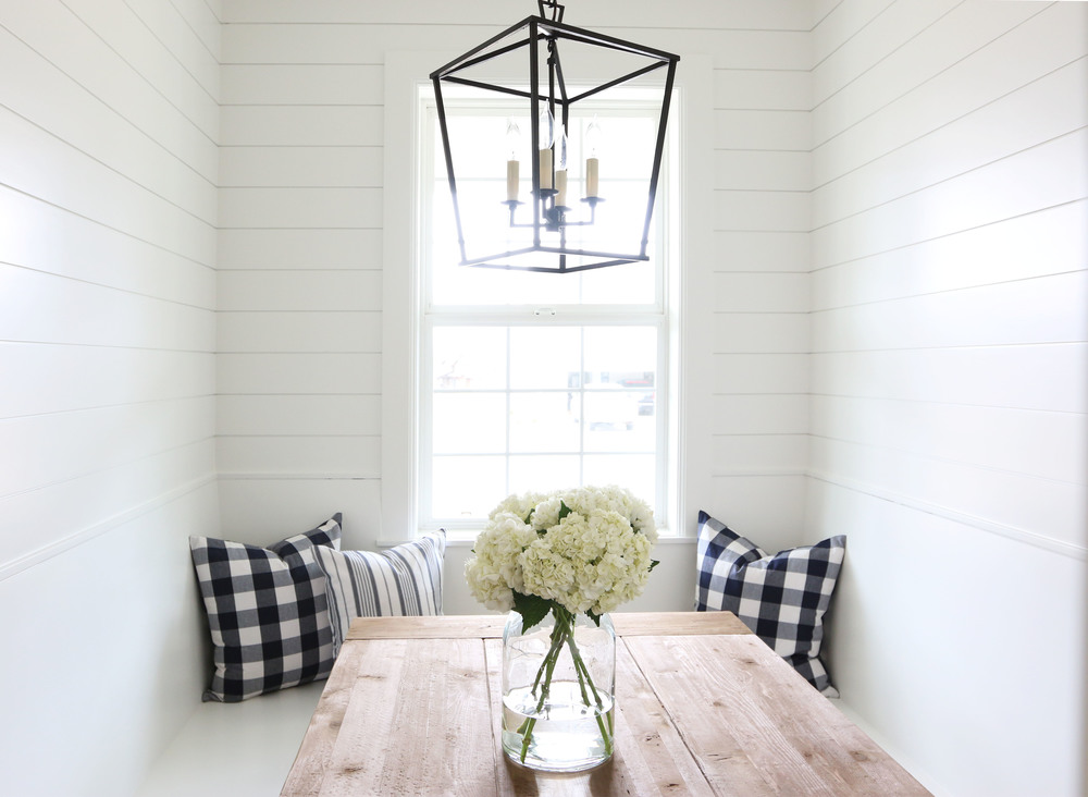 Add our boutique shiplap wood wall panels to make your dining room a focal point. (photo from: countryliving.com)