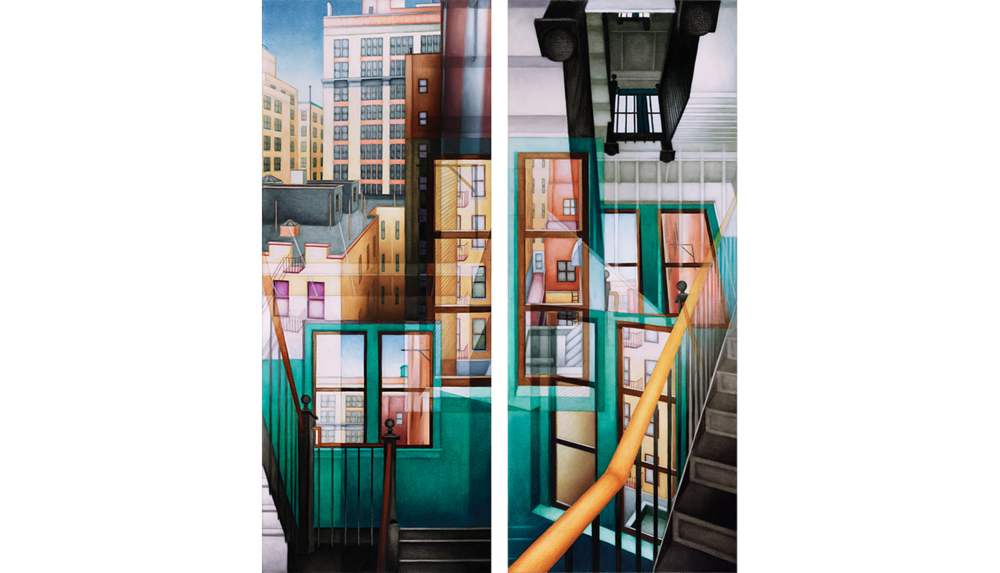 "Golden Bannister, 1993 , Digital C print reverse mounted on Plexiglass, 30 x 75"" each (2 panels)"