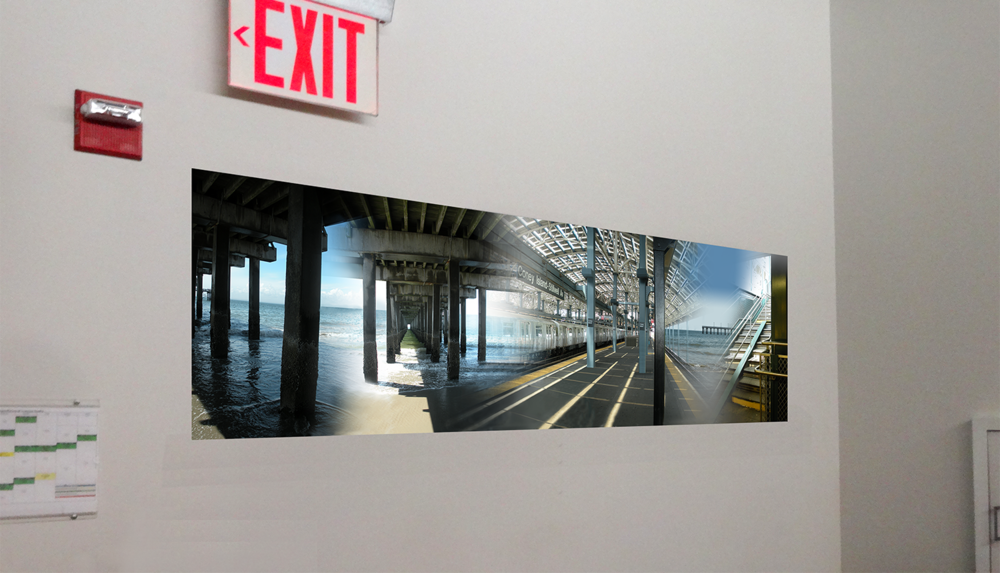 Pier and Ocean, 2010,  Digital C print reverse mounted on Plexiglass (installation shot), 72 x 20""