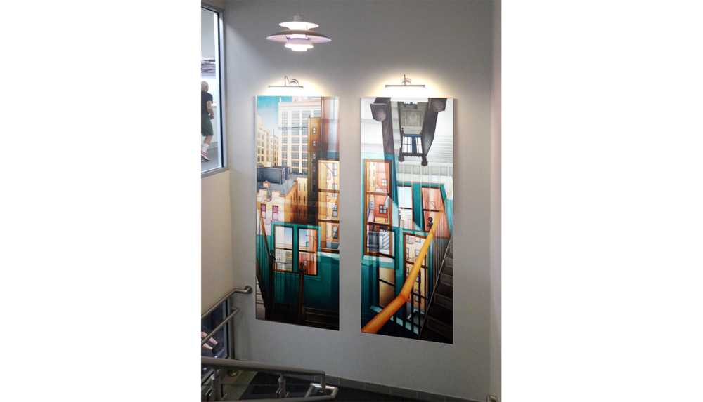 "Golden Bannister, 1993 , Digital C print reverse mounted on Plexiglass (installation shot), 30 x 75"" each (2 panels)"