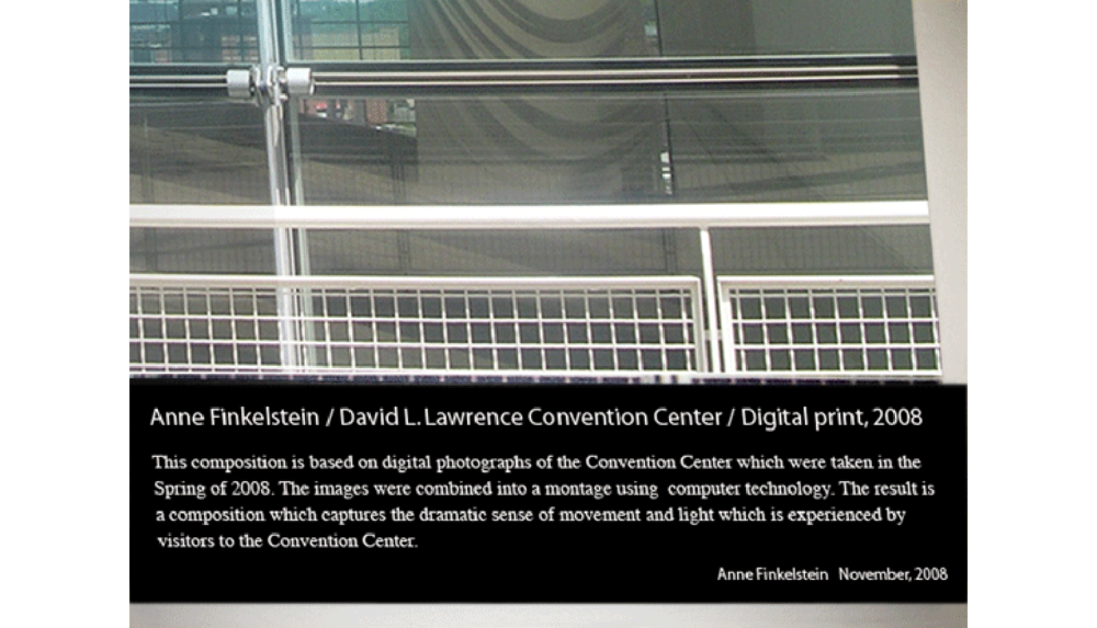 David L. Lawrence Convention Center, Digital print on adhesive vinyl, 2008, 60 x 5' (plaque)