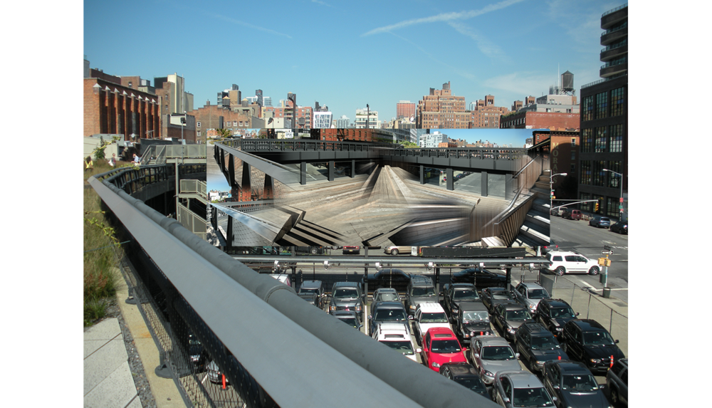 The Stage,  Visualization of a digital mural, as seen from the High Line, 2011