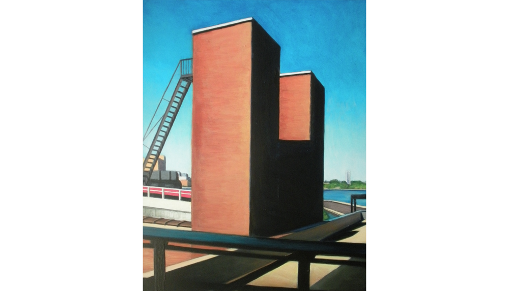 High Line View Three,  2010, Acrylic on board, 16 x 20""