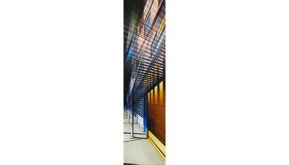 Fire Escape , 2016, Acrylic on linen, 18 x 72""
