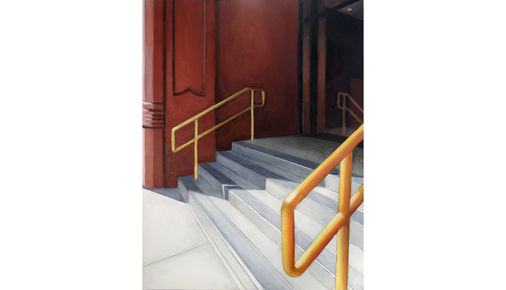 Golden Railing , 2015, Acrylic on board, 12 x 16""