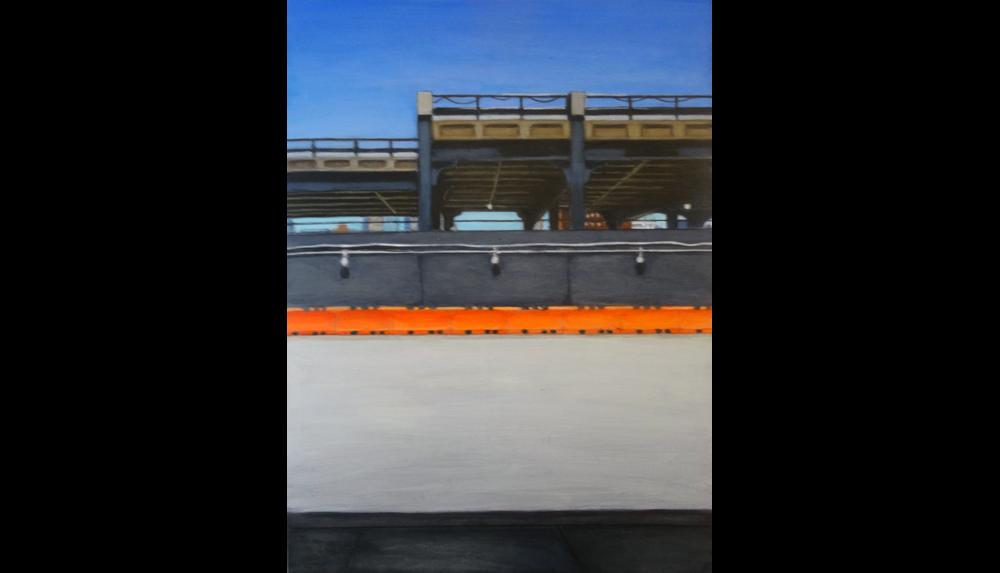 "Orange 1, 2013,  Acrylic on board, 12 x 16"""