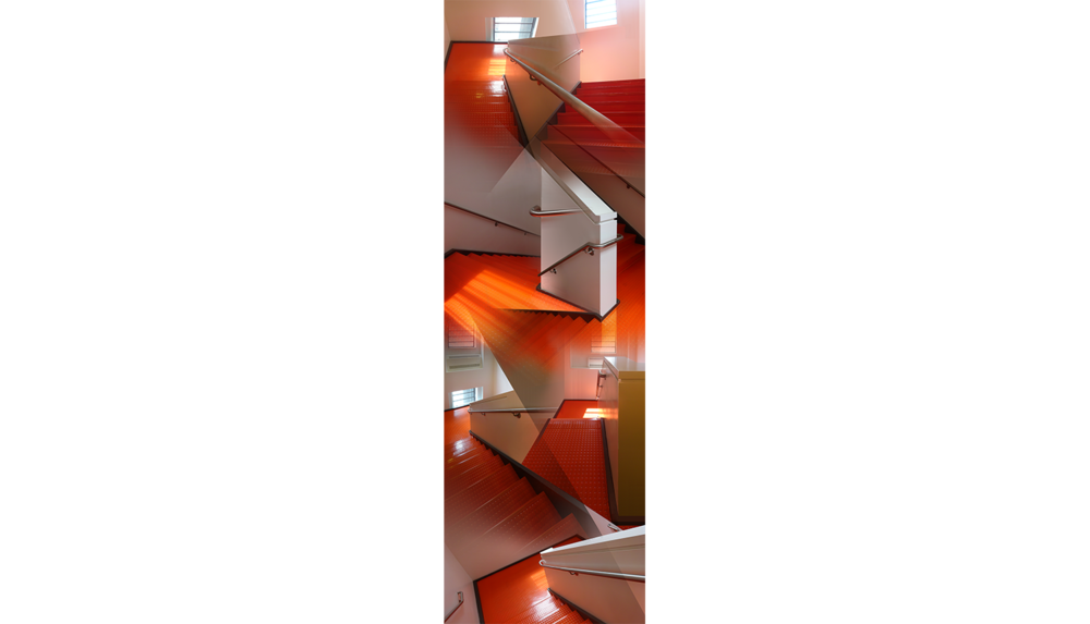 Orange Stairs , 2018, Digital C print, 13.5 x 41.5""